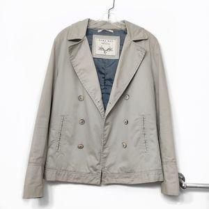 Zara Man Khaki Gray Trench Jacket Coat Sz Small
